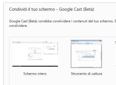 Google Cast schermo intero