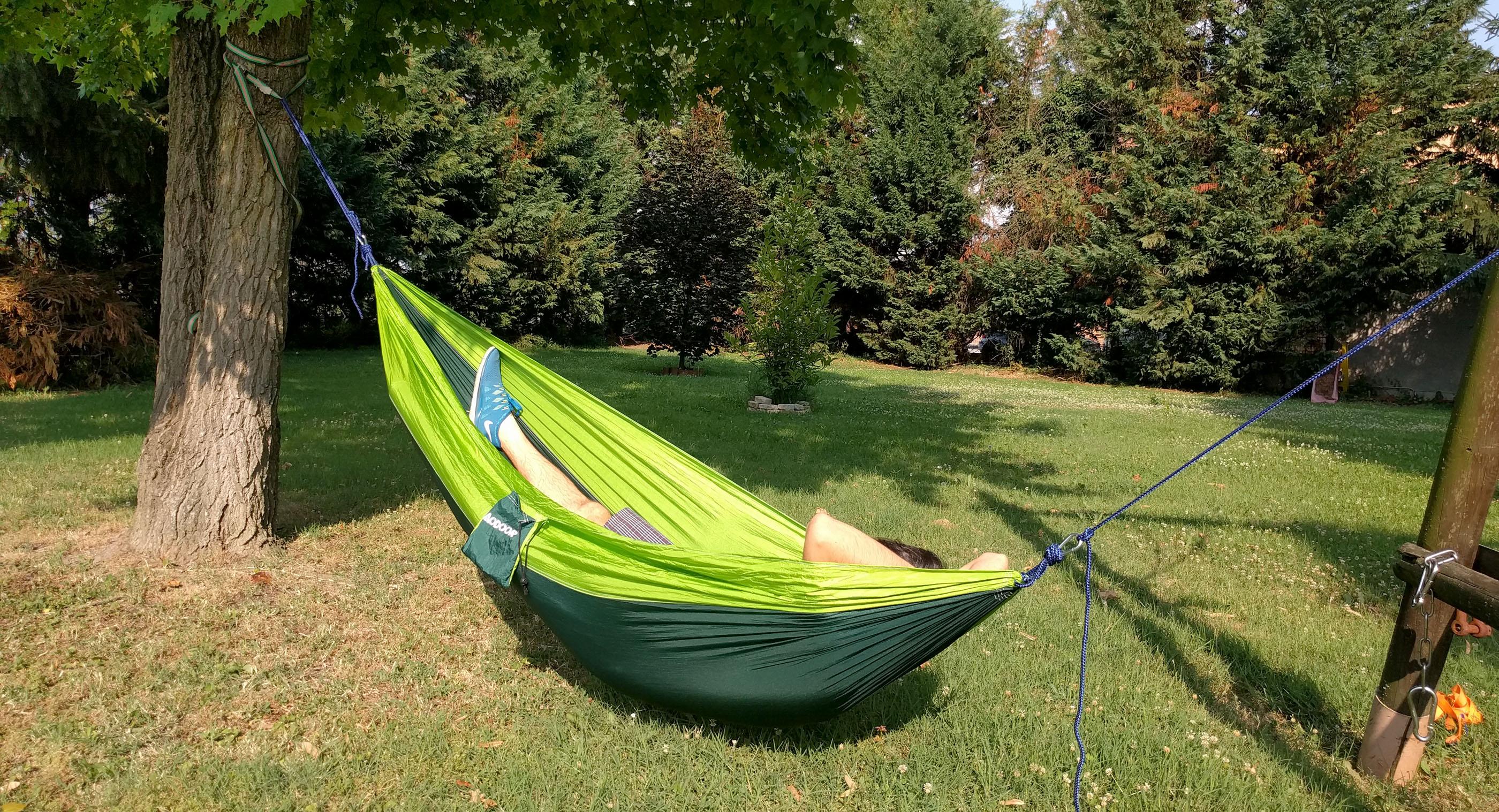 Proviamola: Amaca verde da campeggio portatile Aodoor